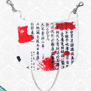 Japanese Kanji's Blood Unisex Punk Hip Bag Shoulder purse