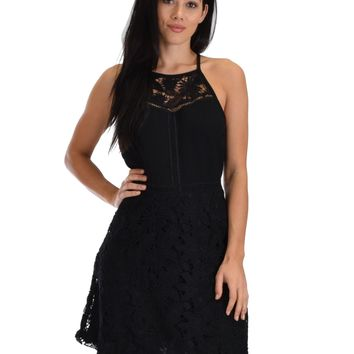 SL4753 Black Sleeveless Lace A-Line Dress With Lining