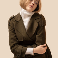 Army Green Wool Cashmere Coat