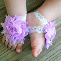 Baby Barefoot Sandals..Purple Shabby Flowers..Newborn Barefoot Sandals..Toddler Barefoot Sandals