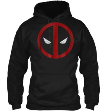 Marvel Deadpool Mask Classic Distressed Graphic  Pullover Hoodie 8 oz