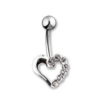 14g Clear Gem Hollow Heart Shaped Non Dangle Belly Button Ring Navel Body Jewelry Piercing with Surgical Steel Curved Barbell 14 Gauge