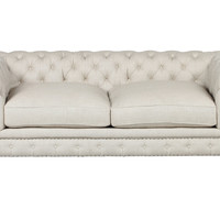 "One Kings Lane - Lounge Around - Finn 77"" Linen Sofa, Cream"