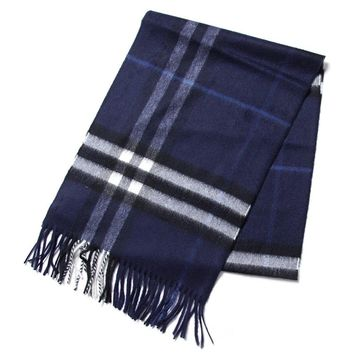 Burberry Women's Check Fringe Scarf Blue