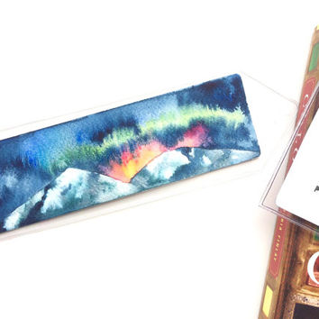Shiny Mountains Bookmark (original watercolor painting)