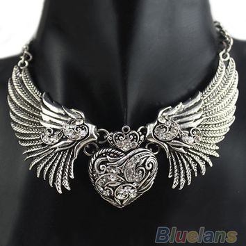 Hot Rhinestone Angel Wings Collar Chain Necklaces Women Dresses, Dress, Top Necklace