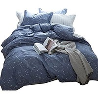 YOUSA Stars Print Bedding Set Constellation Pattern 4PC Duvet Cover Sets Queen