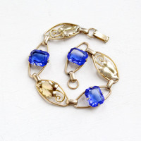 Vintage 12k Rosy Yellow Gold Filled Sapphire Blue Glass Stone Bracelet - 1940s Link Jewelry with Leaf Motif