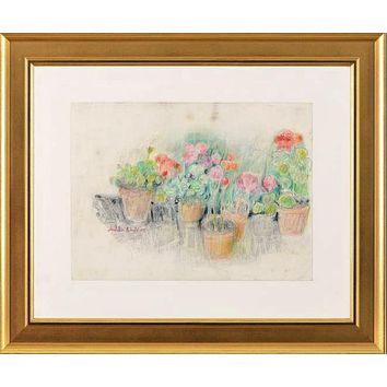 Flowerpots - Colored Pencil Sketch on Paper by Judith Bledsoe (1928-2013)