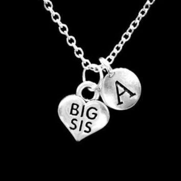 Choose Initial Letter Big Sis Sister Mother's Day Gift Charm Necklace