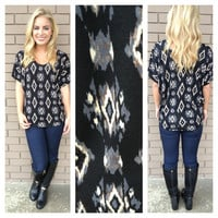 Grey & Black Diamond Print Short Sleeve Top