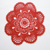 Crochet doily,lace doilie, table decoration, crocheted place mat, doily tablecloth,table runner, napkin,red
