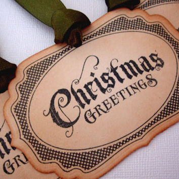 Christmas Gift Tags, Set of 6, Vintage Style, Hang Tags, Decorations, Favor, Place Setting, Green, Luxury Tags, Choose Ribbon Colours