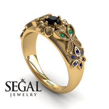 Flowers Engagement ring 14K Yellow Gold Butterfly Flowers Ring Vintage Ring Edwardian Ring Filigree Ring Black Diamond With Green Emerald And Sapphire - Isabella