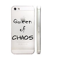 Queen Of Chaos Text Quote Text Slim Iphone 5 5S Case, Text Clear Iphone 6 6S Hard Cover Case For Apple Iphone 5/5S -Emerishop (iphone 5)
