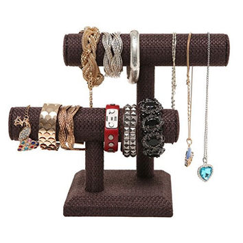 2 Tier Brown Woven Designer Series T-Bar Bracelet Watch Jewelry Stand Display