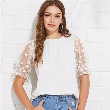 Tops and Tees T-Shirt SHEIN White Minimalist Workwear Office Lady Polka Dot Mesh Flounce Sleeve Ruffle Cuff O-Neck Tee Summer Women Casual T-shirt Top AT_60_4 AT_60_4