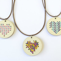 Wooden Pendant Necklace, Statement Abstract Necklace, Irregular Embroidery Necklace, Wood Pendant Gift for Her, Stockings Adjustable Wooden