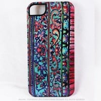 Floral iPhone 5 5s Case - Artistic iPhone 5s TOUGH Case with Tropical Pink and Blue Floral Art - Malaya
