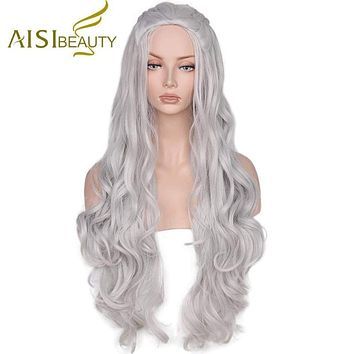 AISI BEAUTY  Synthetic Wig Wavy Long Grey Cosplay Wigs Hair for Women With High Resistant Macchar Cosplay Catalogue