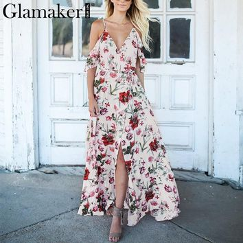 Glamaker Floral print winter dress Women ruffle off shoulder maxi dress sundress V neck split bohemia sexy beach dress vestidos