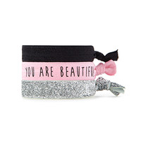 FOREVER 21 Graphic & Glitter Hair Tie Set Black/Pink One