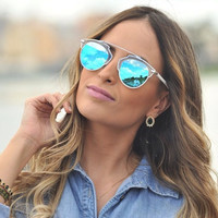 Flat Top Clear Round Sunglasses Vintage Aviator Blue Mirrored Glasses - Kendall