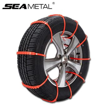 10pcs Car Tire Snow Chains Set Universal Winter Anti-Skid Adjustable Auto Safety Plastic Wheel Chain Ice Mud Outdoor Autocross