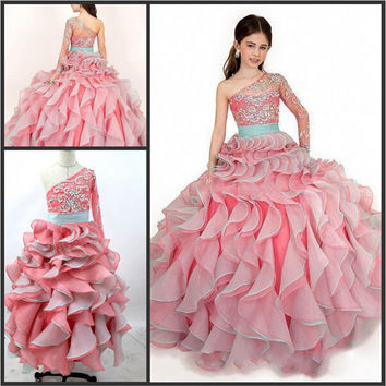 Layered Flowers Girl Dresses Organza Single Long Sleeves Junior Bridesmaid Gown Beaded Crystal Baby Vestidos De Festa LD1646
