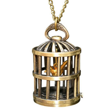 Caged Bird Clock Necklace
