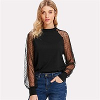 Polka Dot Mesh Bishop Sleeve Top Raglan Sleeve Stand Collar Blouse Long Sleeve Regular Fit Casual Tops