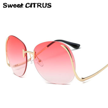 Retro Rimless Oval Oversized Sunglasses Women Brand Designer Fashion Vintage Large Sun Glasses Clear Gradient Big Mirror Shades