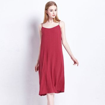 VONEC4W Ladies Cotton Linen Summer Stylish Spaghetti Strap Dress [4914977348]