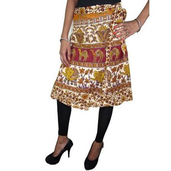 Mogul Indian Ethnic Wrap Skirt Cotton Printed Boho Chic Summer Skirts - Walmart.com