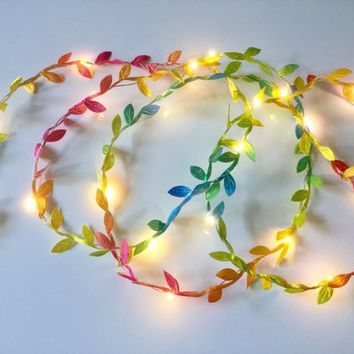 Rainbow tiny leaf garland fairy wire with mini led lights, Led Lights String Garland, led lights