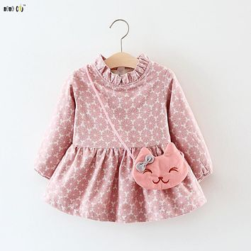 2017 Winter Baby Dress Girls Clothes Cute Print Long Sleeve Baby Party Dresses Thicken Warm Princess Vestido Toddler Costume
