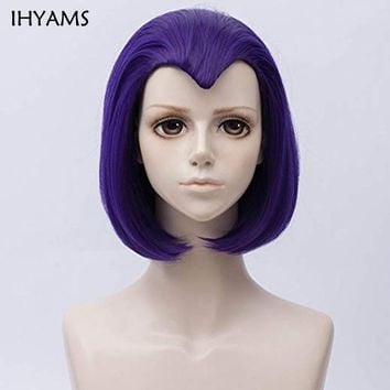 35cm Teen Titans Raven Cos Wig Purple Hair Girl's Straight Short Synthetic Hair Cosplay Wig + Wig Cap