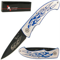 Engraved Eagle Handle Folding Pocket Knife Over 7.5 inches