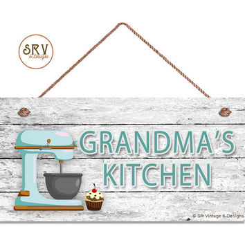 "Grandma's Kitchen Sign, Retro Blue Mixer and Cupcake Wall Art, Gift For Grandma, Weatherproof, 5"" x 10"" Sign, Made To Order"