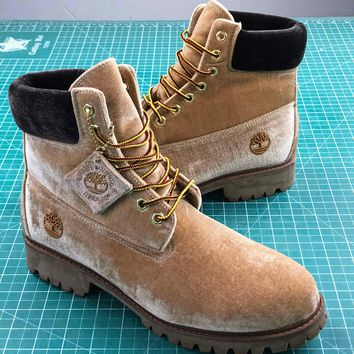 Off White X Timberland Velvet Hiking 6-inch Brown Boots - Best Online Sale