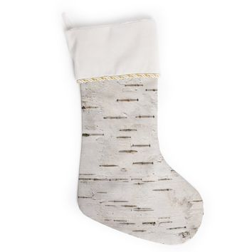 "Susan Sanders ""Painted Tree"" White Rustic Christmas Stocking"