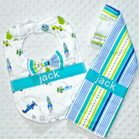 Personalized Burp Cloth and Bib Set with Bow Tie - Baby Boy Lime Blue and Turquoise Stripes, Cars,  Planes and Spaceships