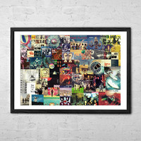 Pink Floyd Collage, Wall art Poster - Fine Art Print for Interior Decoration