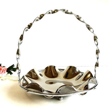Vintage Mid Century Mercury Glass ruffled plate w twisted metal carrier basket rack silver cupcake cake plate server stand, tea party candy