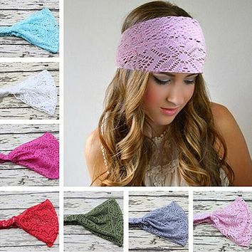 Girl's Fashion Stretchy Wide Lace Headband Turban Head Bandanas Hairband