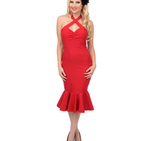 1940s Style Red Cherry Dollface Wiggle Dress