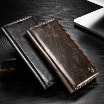 Flip Stand Leather Case with Card Slot For Samsung Galaxy Note 8 / S8 / S8 Plus / S7 / S7 Edge / S6 / S6 Edge / S6 Edge Plus / N