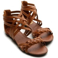 Ollio Womens Flats Sandals Gladiator Strappy Zip Closure Multi Colored Shoes:Amazon:Shoes