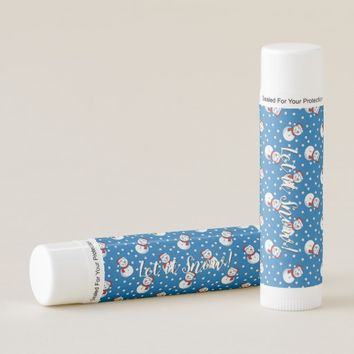 Snowmen on Blue Background Let It Snow Lip Balm