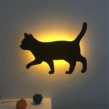 Voice Sensor LED Night Light Cute Cat Lamp LED Battery Operated Wall Lamp